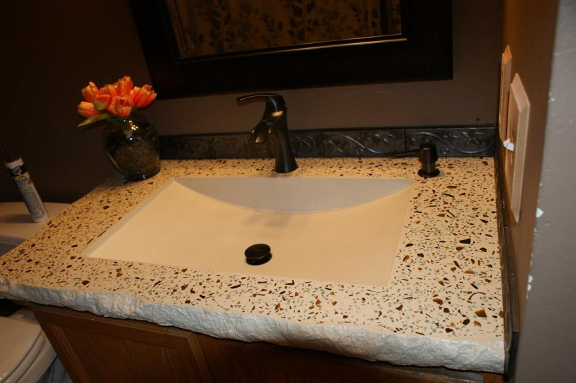 Bathroom concrete vanity sink portfolio north metro twin cities minneapolis st paul north - Custom solid surface bathroom vanity tops ...